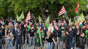 """A """"rendért"""" tartott demonstrációt Törökszentmiklóson a szélsőjobboldali """"Mi Hazánk"""""""