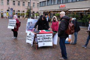 """""""Bojkottáld az Eurovíziót Izraelben"""" – palesztin tüntetés a Bazilikánál"""