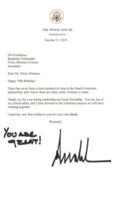 You are great! – Trump szülinapi üdvözlete Netanjahunak