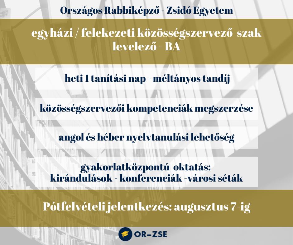 Egyházi/felekezeti Közösségszervező szak – felvételi tájékoztató