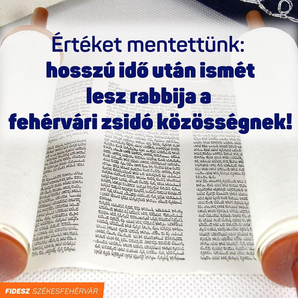 Székesfehérvár városa támogatást nyújt, hogy újra legyen helyi rabbi