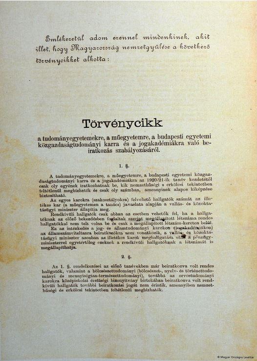 Száz éve fogadta el a magyar parlament a numerus clausus törvényt