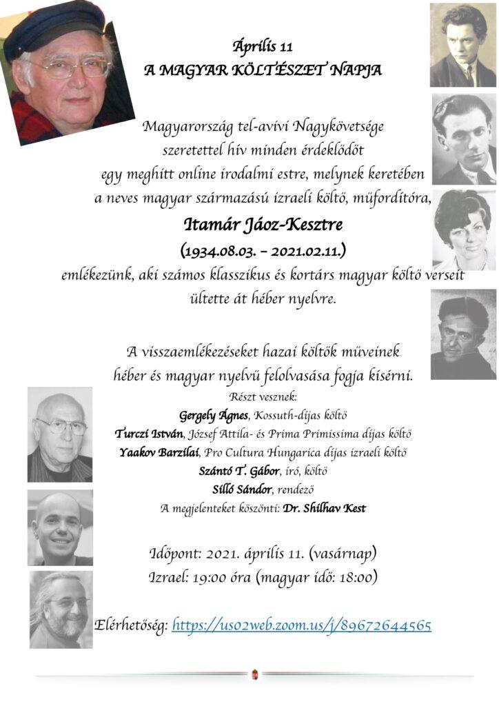 Itamár Jáoz-Keszt emlékest a magyar költészet napján