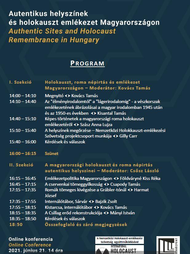 Autentikus helyszínek és holokauszt emlékezet Magyarországon– online konferencia
