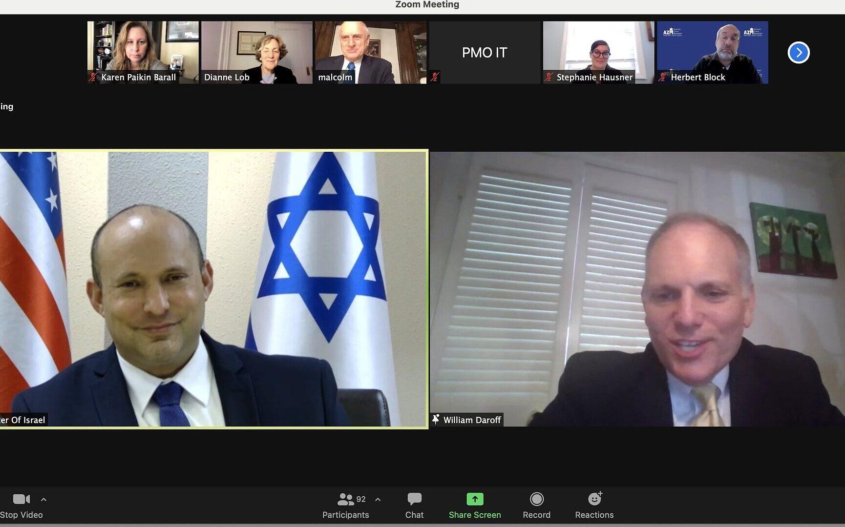 Bennett az amerikai zsidó vezetőknek: Abbasszal nem fogok találkozni | Szombat Online