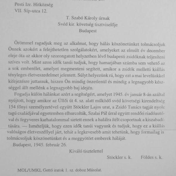 Stöckler Lajos levele