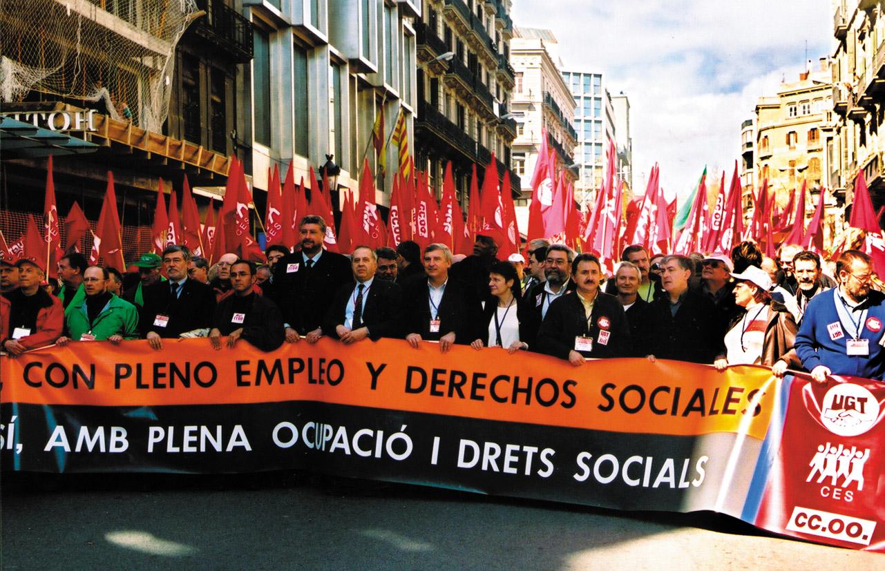 son baloldali tüntetés Barcelonában