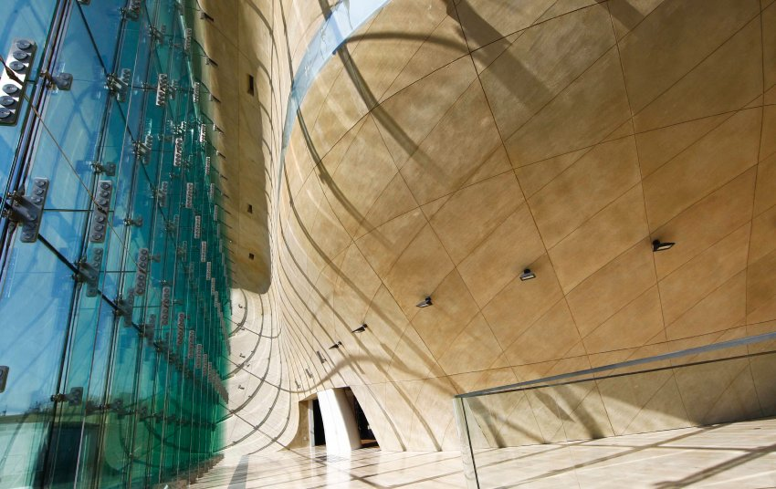 The view of the main hallway of the newly constructed building of the Museum of the History of the Polish Jews in Warsaw