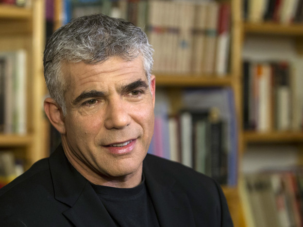 Yair Lapid speaks during an interview with Reuters in Tel Aviv