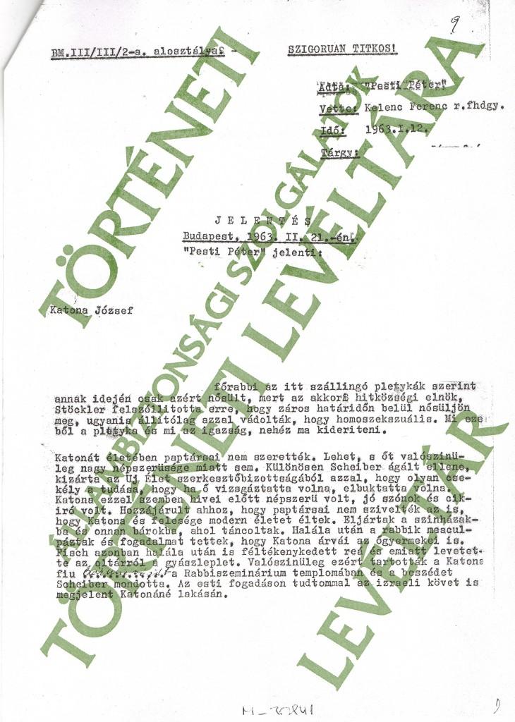 3 - Pesti Péter 1963. II. 21-i gépirásos besúgó jelentése