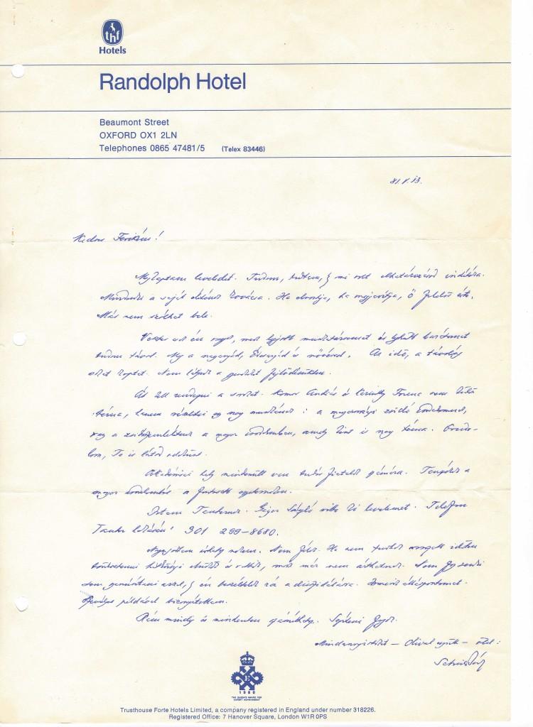 3 - Scheiber Sándor 1981. május 13-i levele