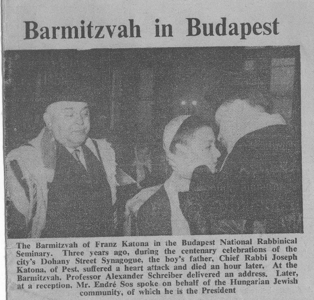 3 - Scheiber Sándor Katona Ferenc barmicvóján. Jewish Chronicle, 1962. október 5.