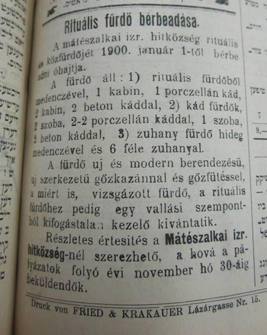 4 - Hirdetés a Jüdischer Pester Zeitungból