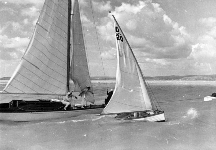Balaton, keleti medence, Dingi és 30-as cirkáló, 1935. Fotó Somlai Tibor, Fortepan.hu