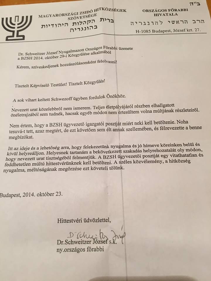 Schweitzer József levele