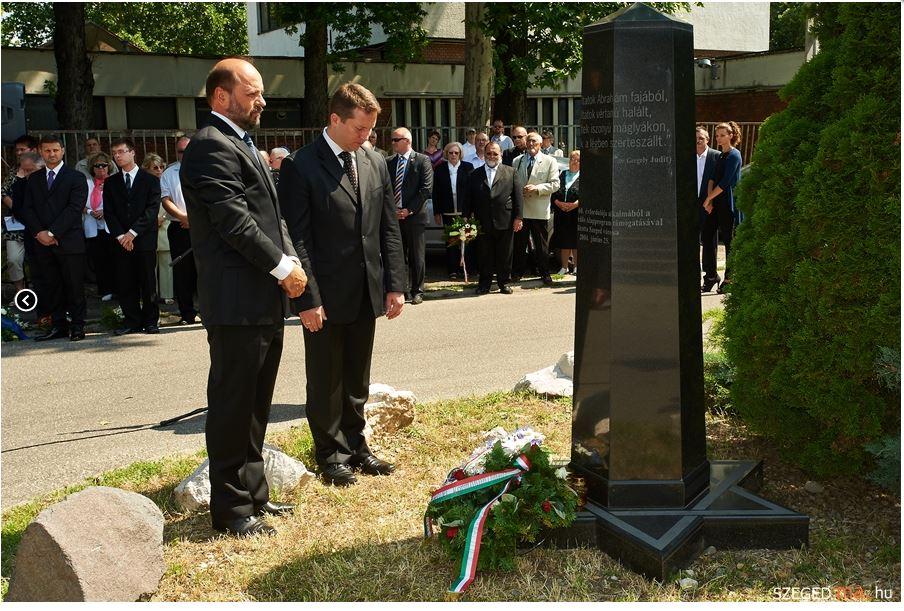 Szeged gettó emlékoszlop