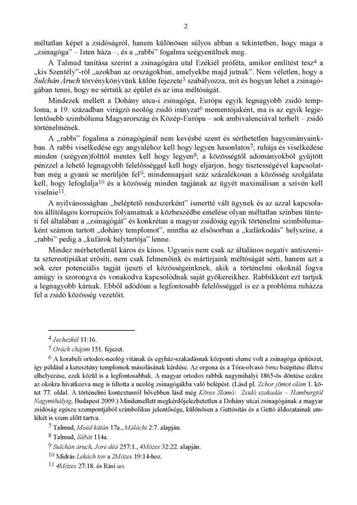 Zsinagoga belepteto rendszer Ortodox Rabbinatus allasfoglalas 2