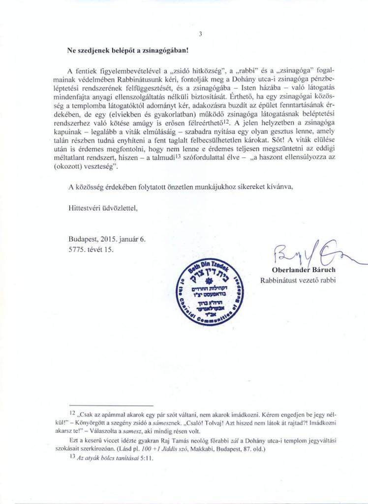 Zsinagoga belepteto rendszer Ortodox Rabbinátus allasfoglalas 3