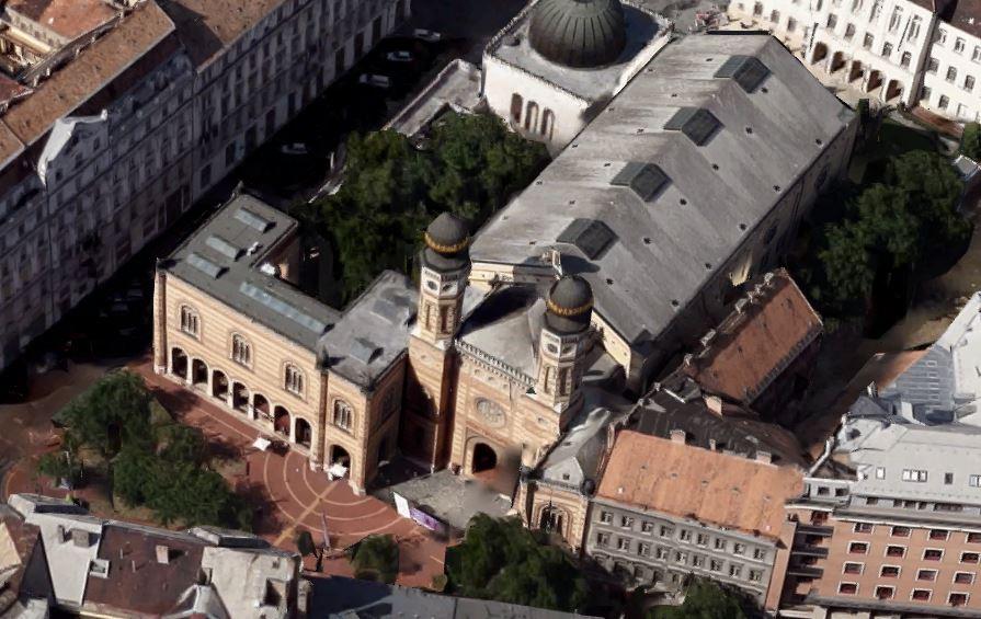 Dohány utcai zsinagóga felülnézetből Kép forrása google maps