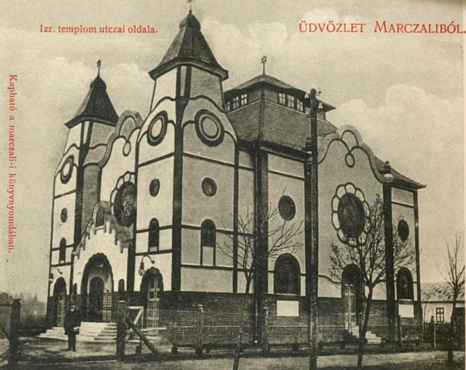 A marcali zsinagóga egy korabeli képeslapon