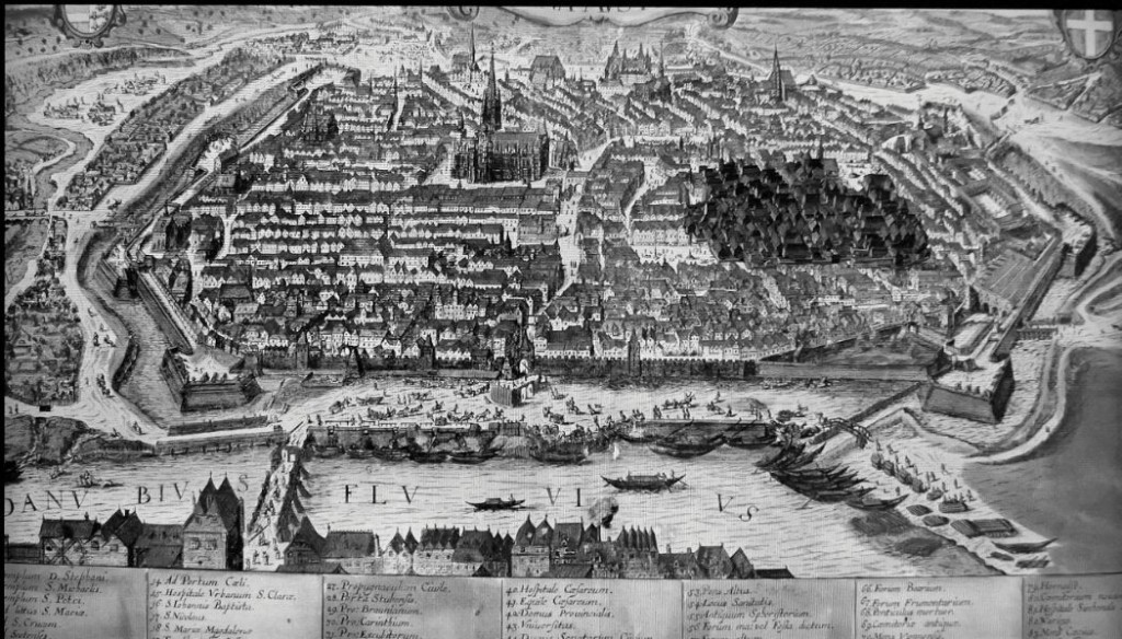 3 - Bécs városképe i 1420 előtt. A zsidónegyed sötéttel kiemelve
