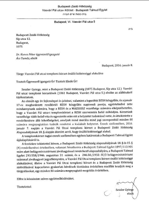 Sessler György levele