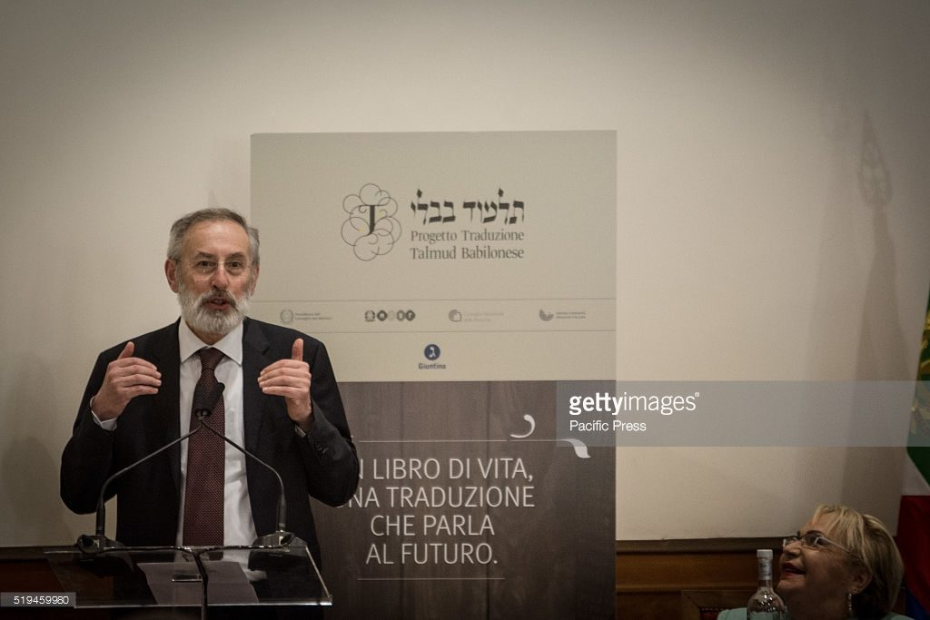 ROME, ITALY - 2016/04/05: The Chief Rabbi Riccardo Di Segni during the presentation of the first volume of the Talmud translated into Italian. The first copy of the translation in Italian of the Rosh Hashanah Treaty, the first volume of the Talmud, the fundamental text of Jewish tradition, was delivered to the President of the Republic Sergio Mattarella, at a presentation ceremony held at the Auditorium of Villa Farnesina, hosted the Accademia dei Lincei. (Photo by Andrea Ronchini/Pacific Press/LightRocket via Getty Images)