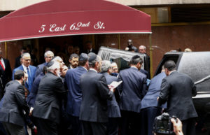 The casket for Nobel laureate and Holocaust survivor Elie Wiesel is placed into a hearst outside the Fifth Avenue Synagogue on July 3, 2016 in New York. Mourners gathered in New York to bid farewell to Elie Wiesel, the Holocaust survivor and Nobel peace laureate hailed for his life's work of keeping alive the memory of Jews slaughtered during World War II. Wiesel died in New York on July 2, 2016 at age 87. / AFP / KENA BETANCUR (Photo credit should read KENA BETANCUR/AFP/Getty Images)