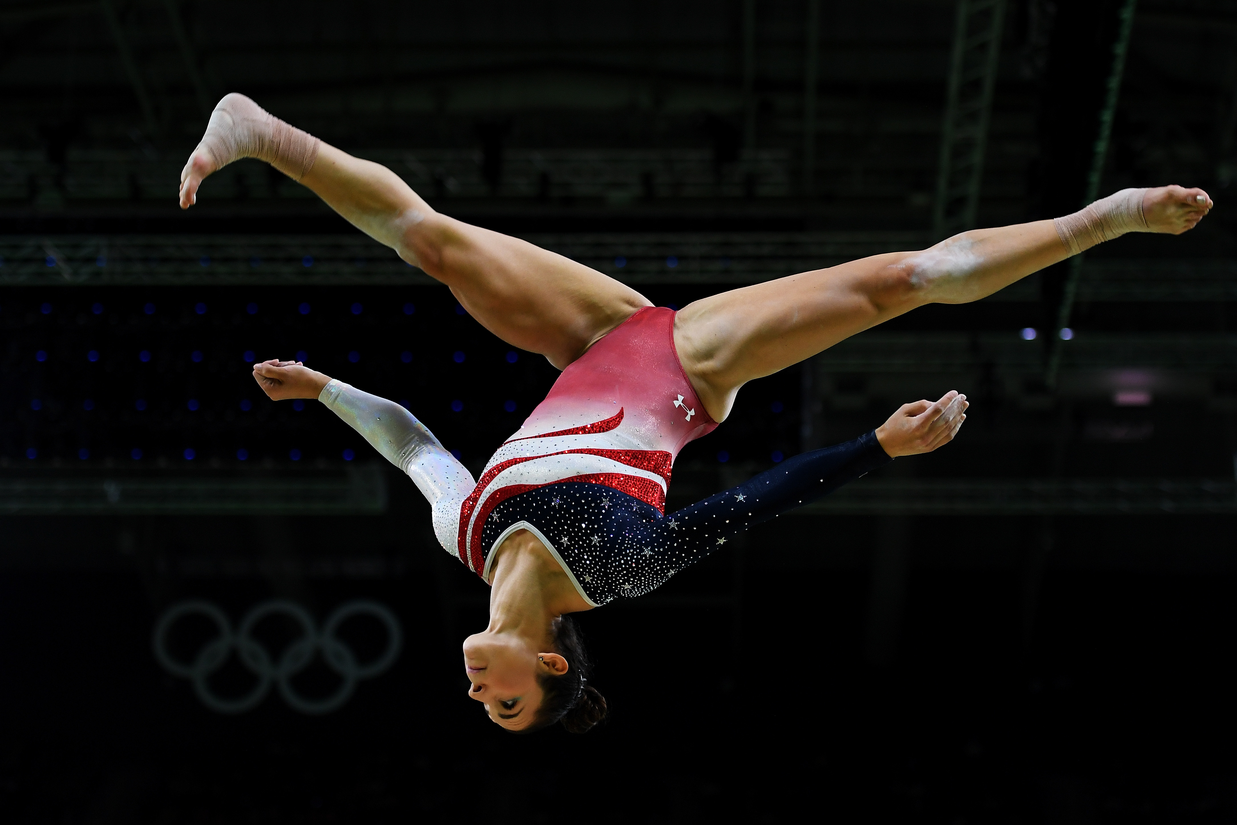RIO DE JANEIRO, BRAZIL - AUGUST 09: Alexandra Raisman of the United States competes on the balance beam during the Artistic Gymnastics Women's Team Final on Day 4 of the Rio 2016 Olympic Games at the Rio Olympic Arena on August 9, 2016 in Rio de Janeiro, Brazil. (Photo by Laurence Griffiths/Getty Images)