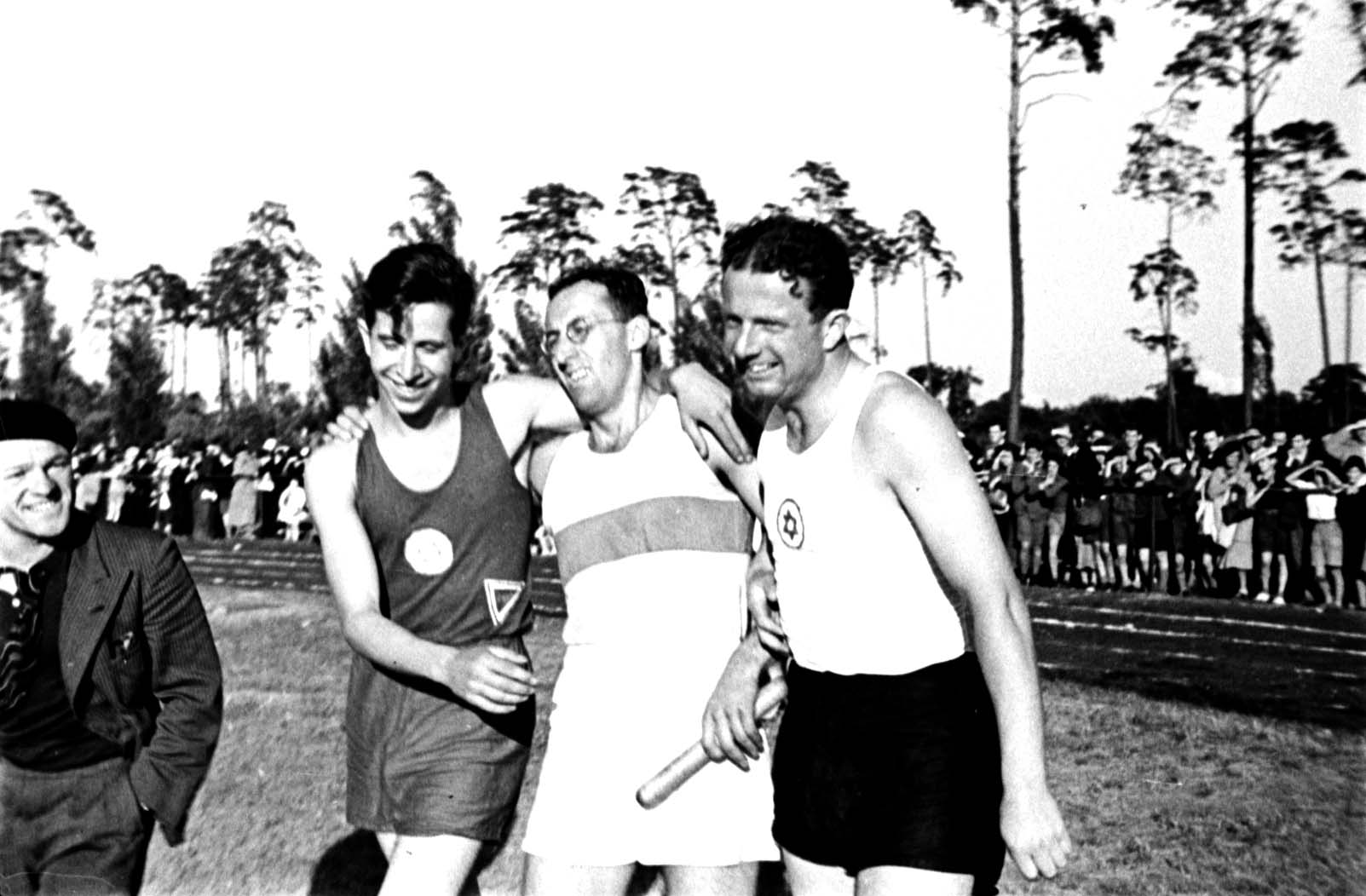 Berlin, Germany, 16 6 1935, Frankenstein, Dreyer and Orgler Track and field athletes at the Maccabi Berlin International Sports Day