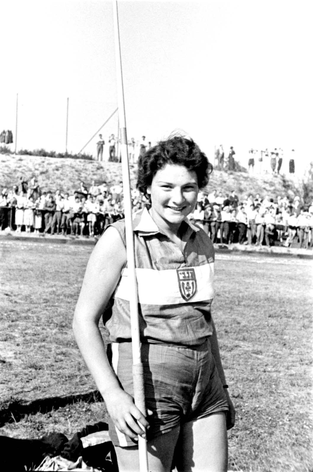 Berlin, Germany, 16 6 1935, Martel Yakob, from Maccabi, with a javelin at the Maccabi Berlin International Sports Day