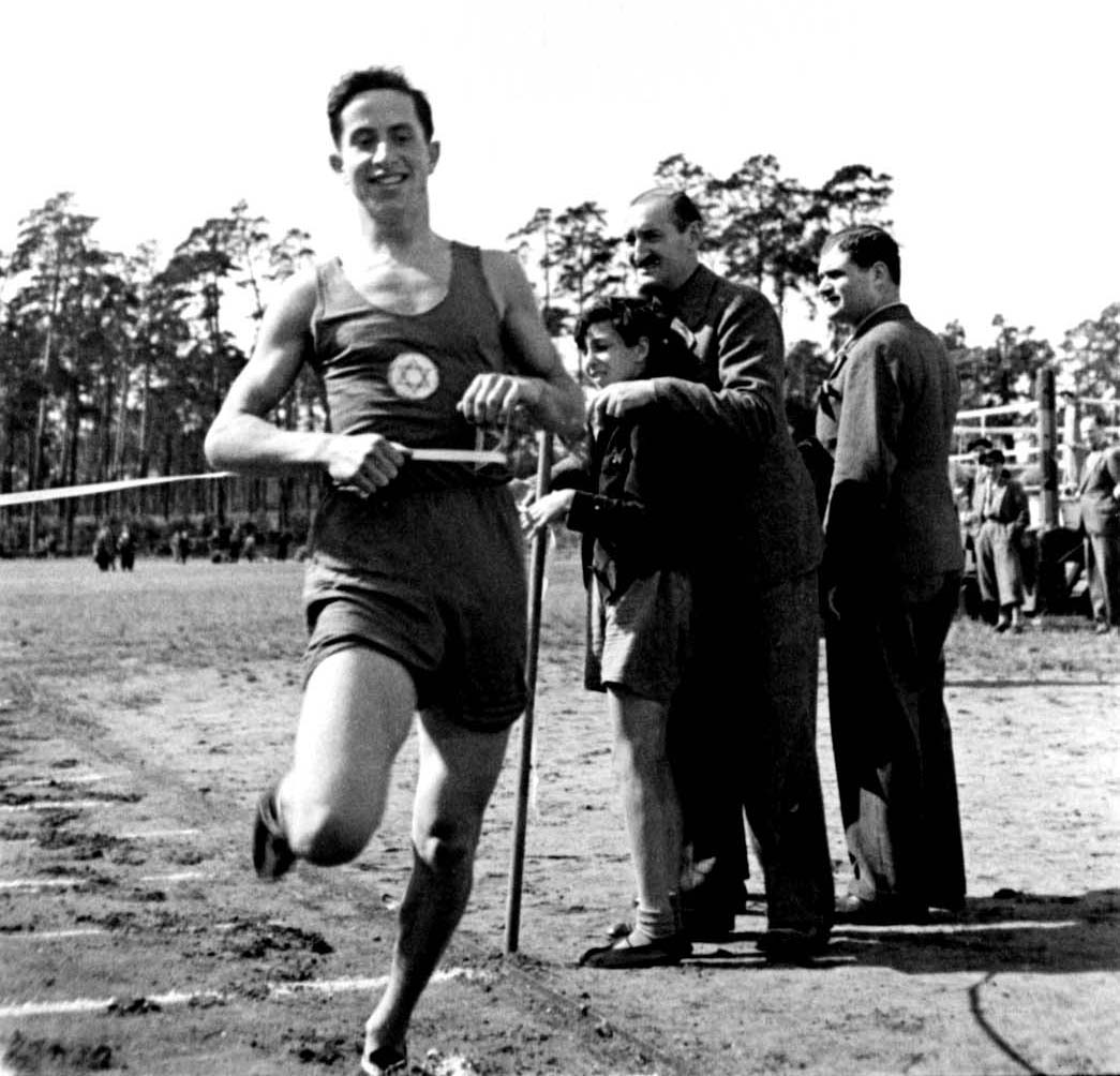 Berlin, Germany, 1935, Franz Orgler, a track and field athlete at the Maccabi Berlin International Sports Day