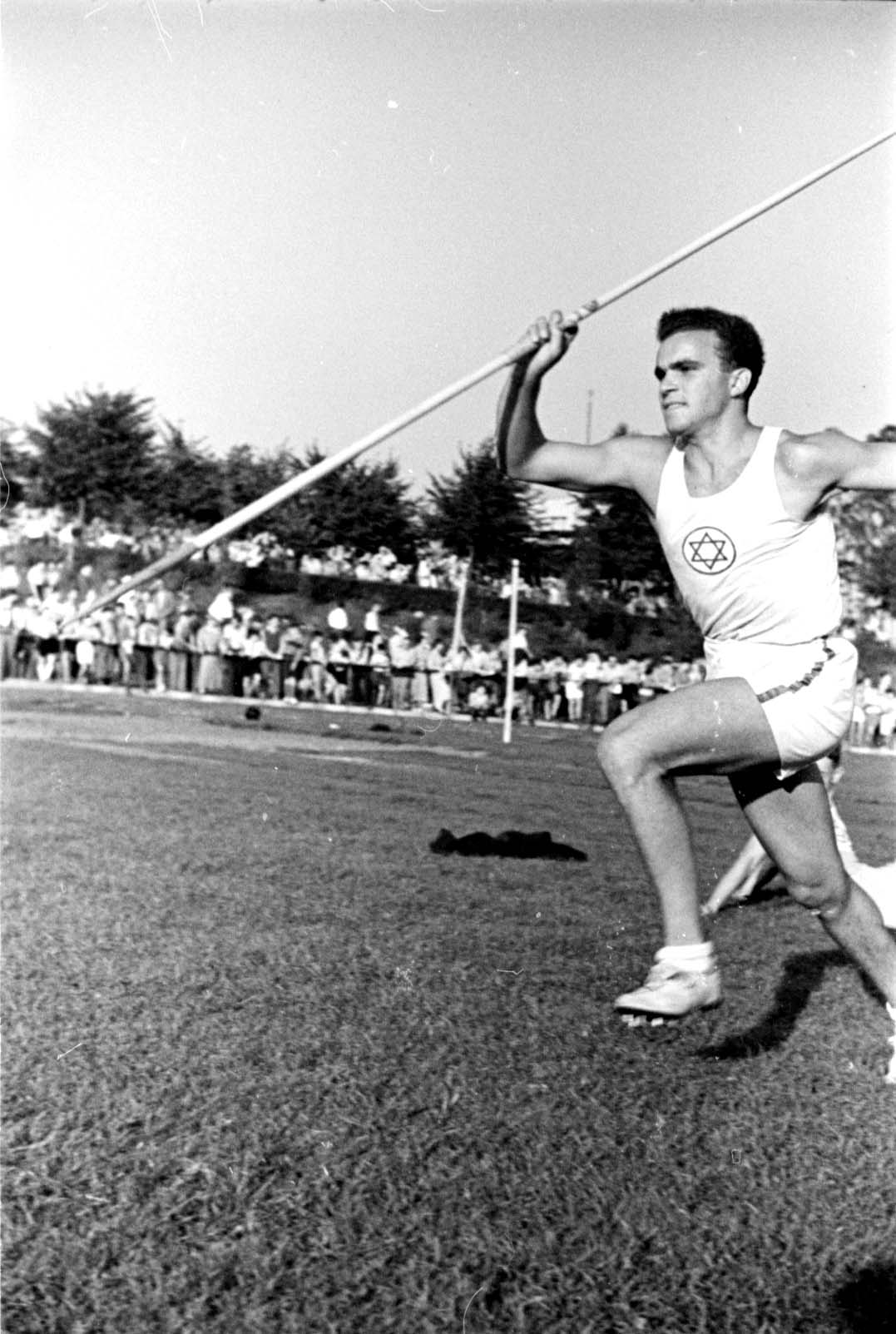 Berlin, Germany, August 1937  A javelin event at a  Maccabi track and field competition