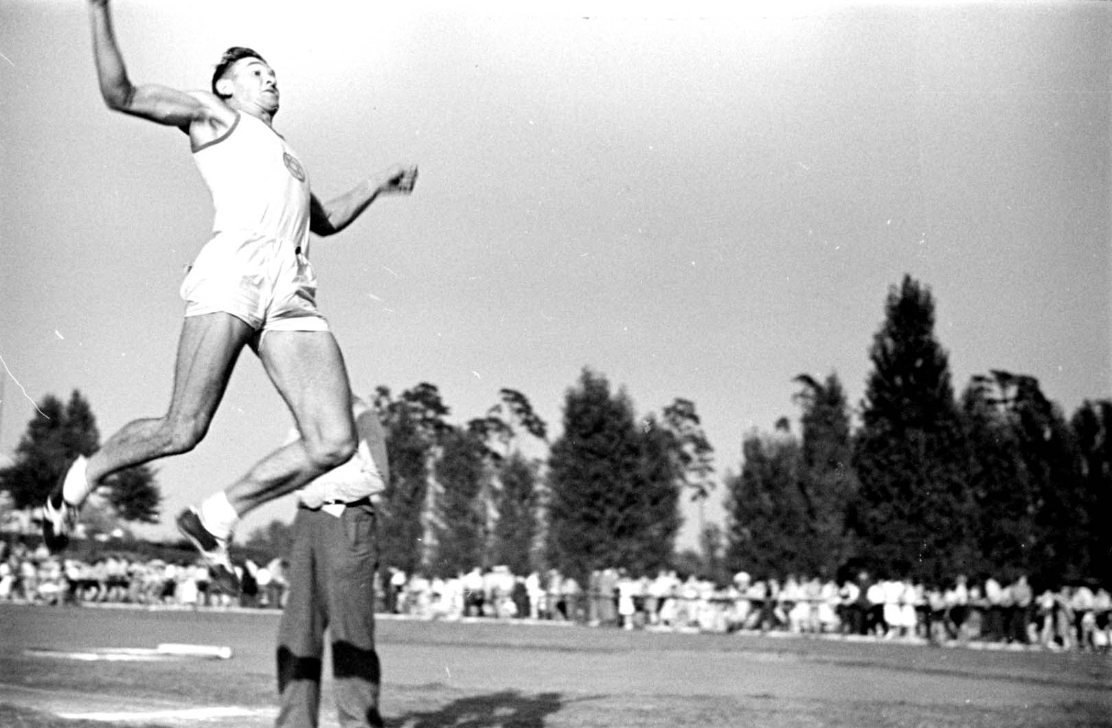 Germany, August 1937, A long jump event at a Maccabi track and field competition