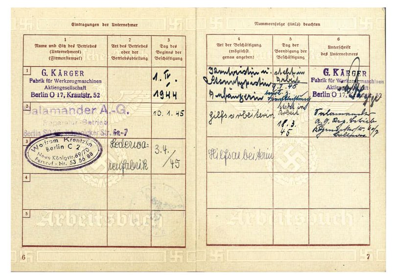 Arbeitsbuch Vera Friedlaender