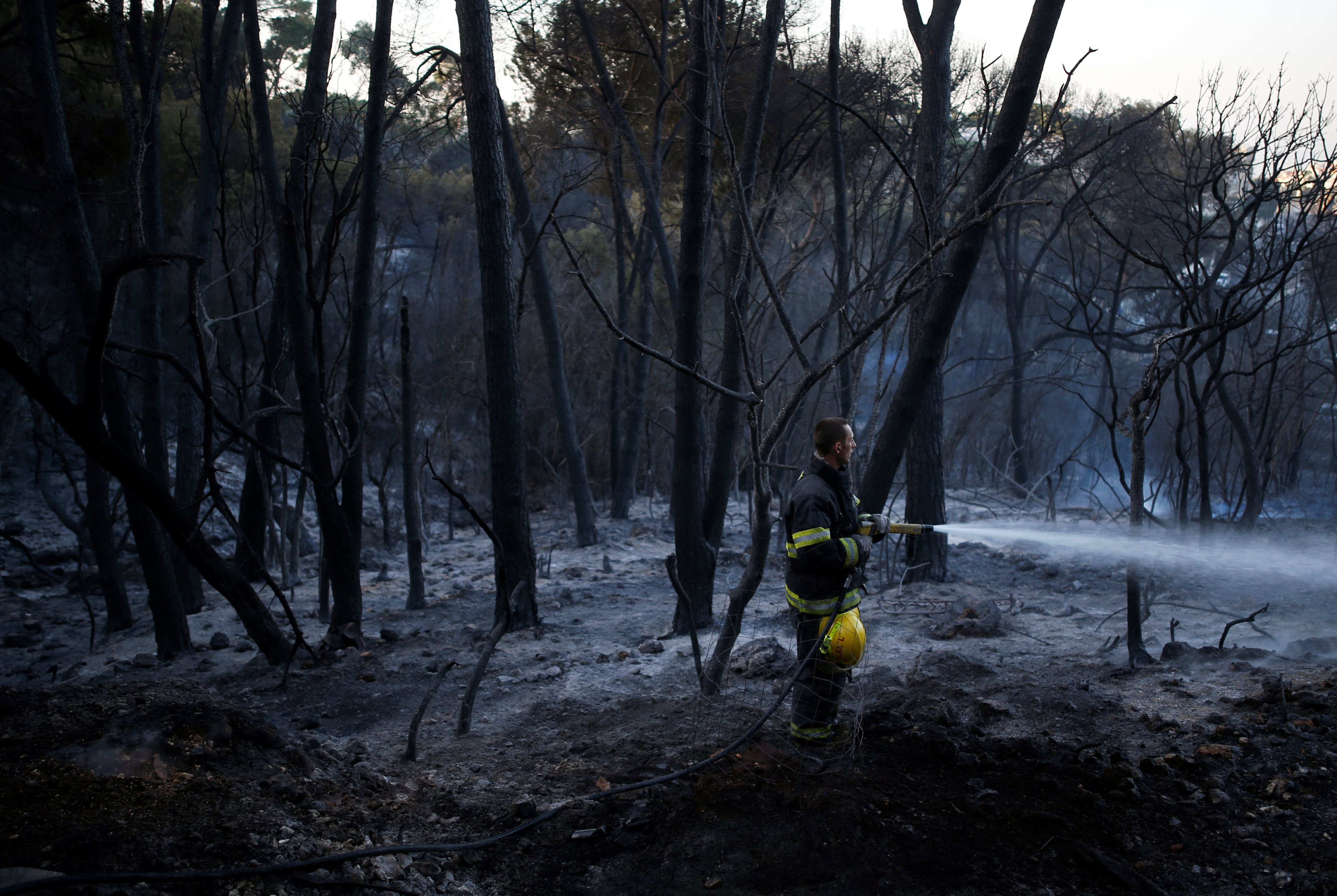 A firefighter works as a wildfire burns in residential area of the northern city of Haifa, Israel November 25, 2016. REUTERS/Amir Cohen