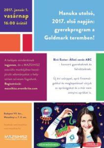 Hanuka utolsó, 2017. első napján: gyerekprogram a Goldmark teremben!